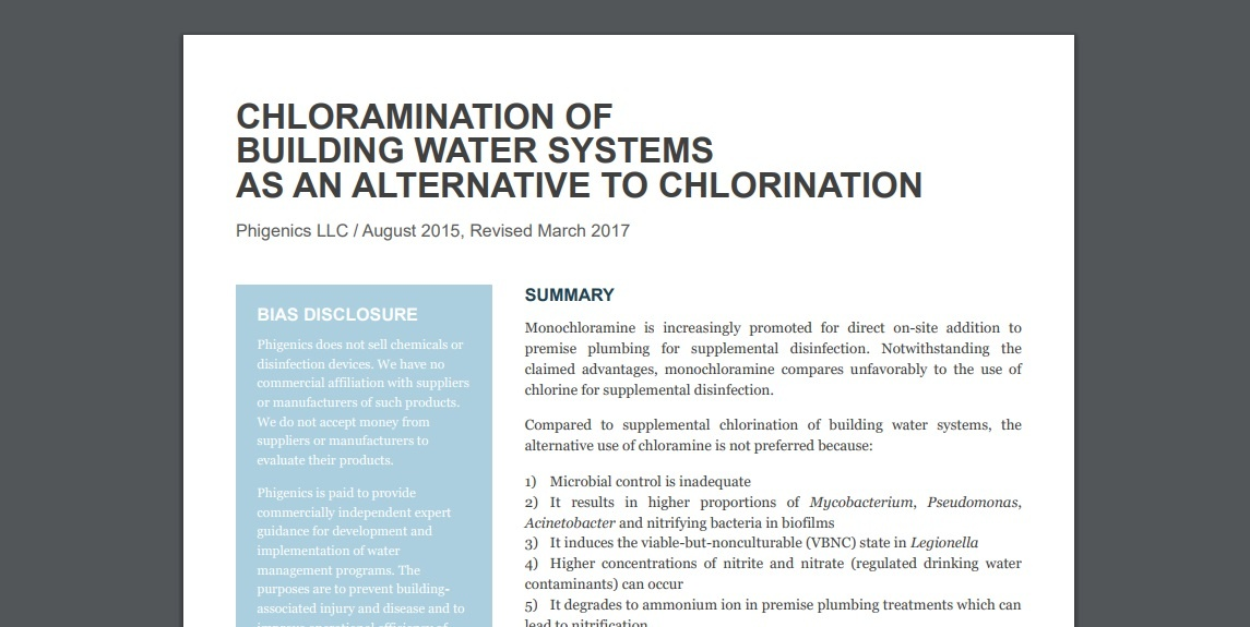 chloration of building water systems as an alternative