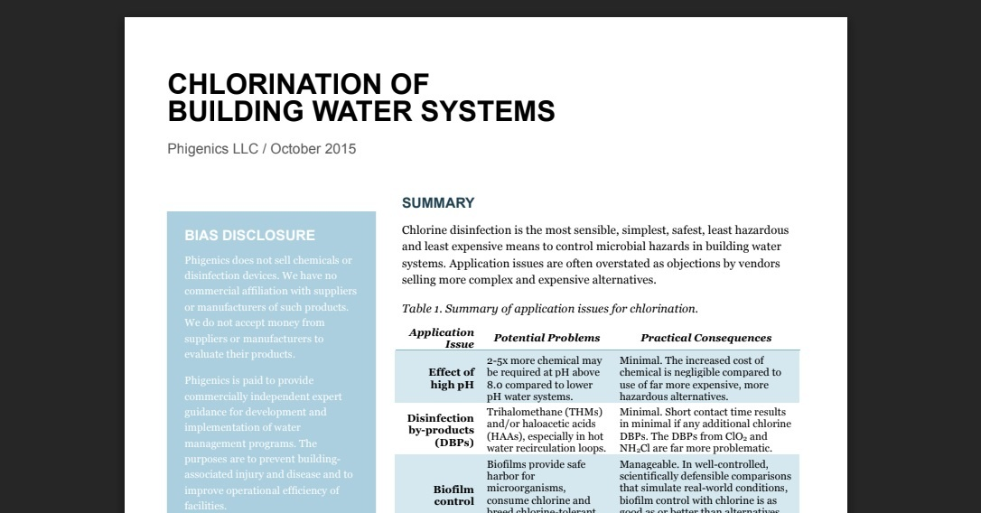 chloration of building water systems